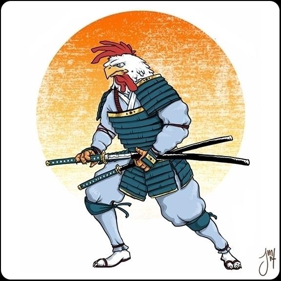 Samurai Rooster rendition 2 - illustration - jasonmartin-1263 | ello