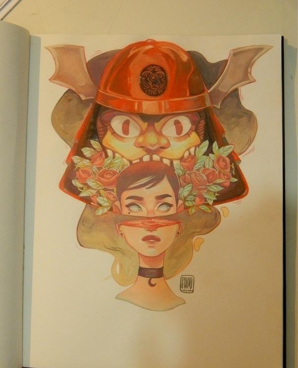 Samuraispirit - girl, gouache, masksamurai - sapolendario | ello
