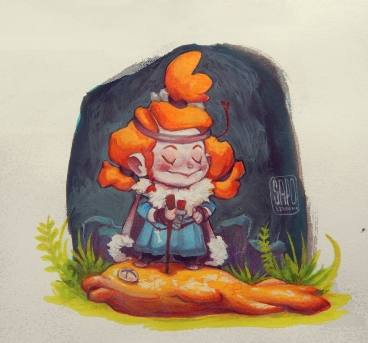 Vikingirl - viking, girl, fish, guache - sapolendario | ello