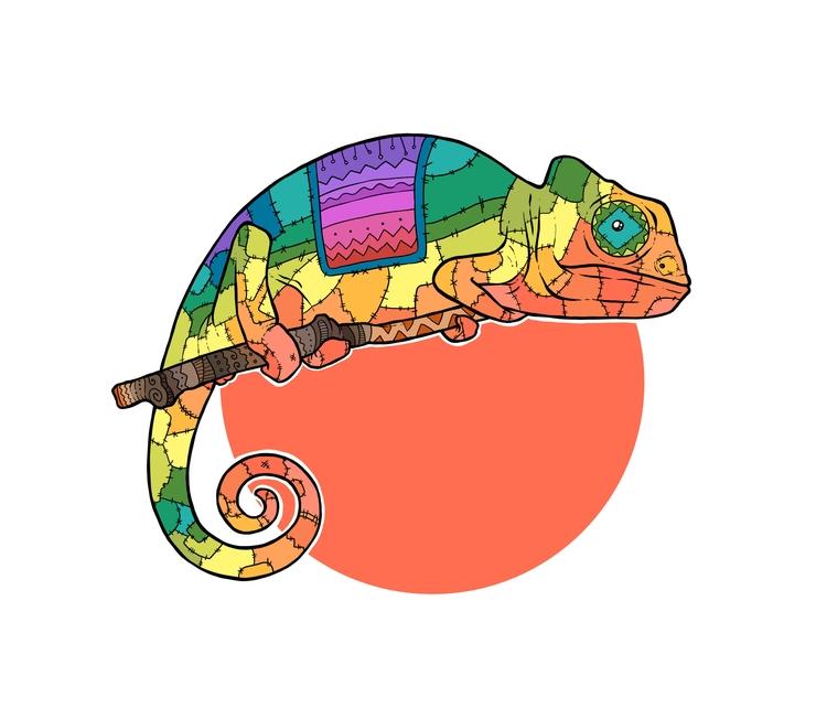 Patchwork Chameleon Tribal Rod  - zita-3948 | ello
