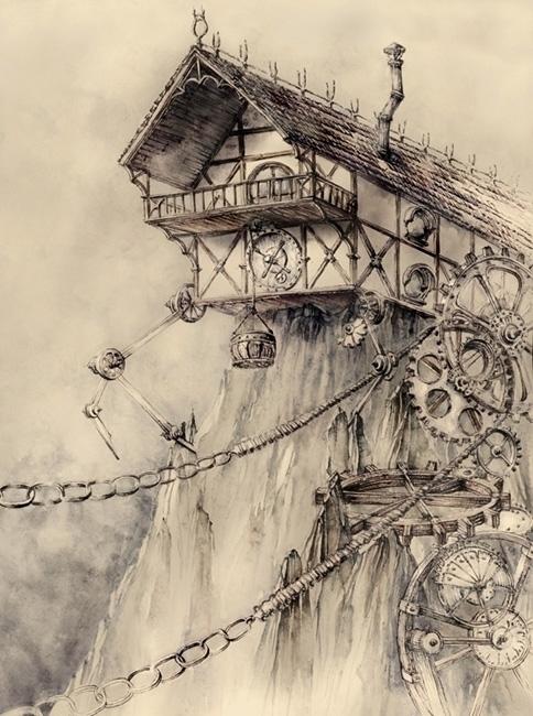 Steampunk House - watercolor, watercolour - grimdream | ello