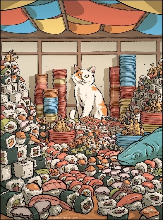 Sushi Party  - illustration, cat - chiaradifrancia | ello