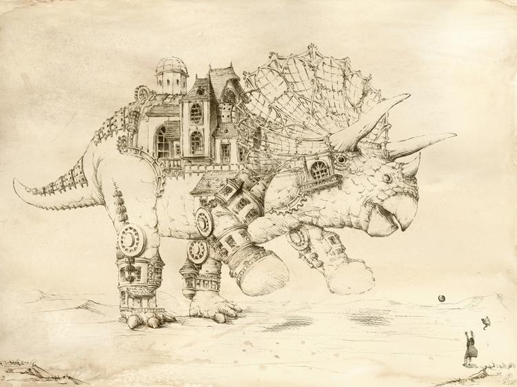 Steampunk Triceratops - watercolor - grimdream   ello