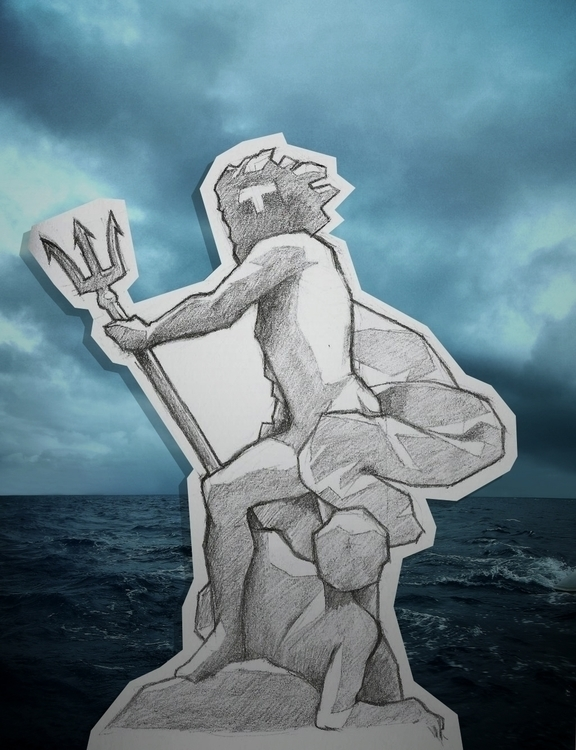Drawing Neptune calmant les flo - pakutosaur | ello
