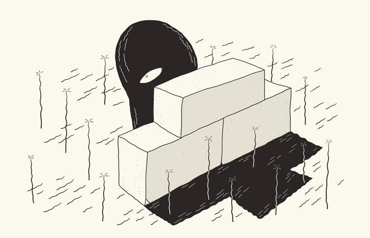 Brick, Hide, shy, illustration - demianjanssen | ello