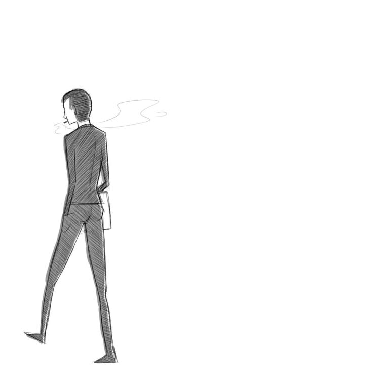 Slender man - sketch, blackandwhite - pakutosaur | ello
