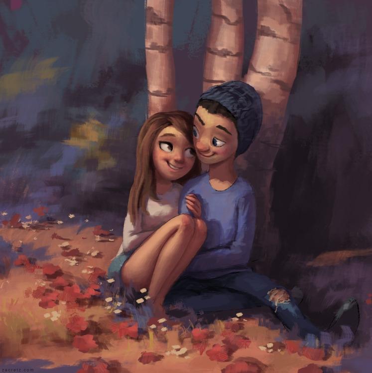 commission piece - couple, love - zacretz   ello