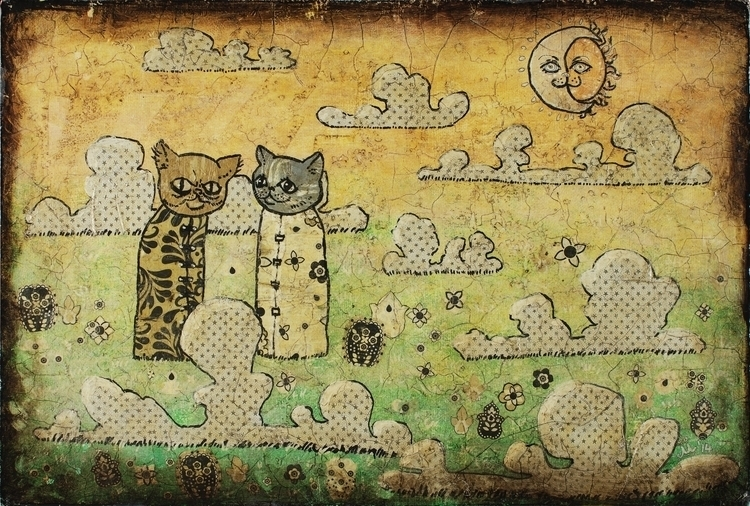 Cats - cats, cat, clouds, sun, moon - mariaevestus | ello