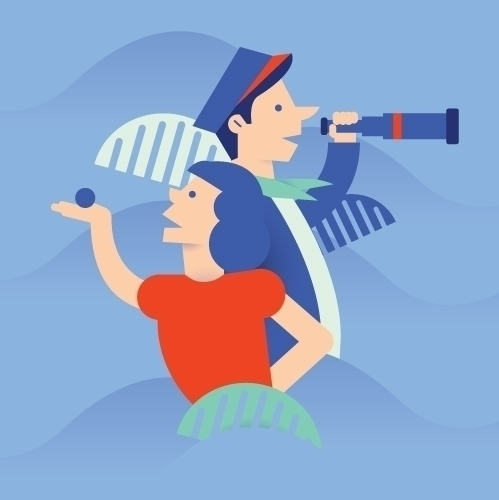 sailor girl - #illustration#magdaazab#summer#women#ball#beach#beauty#palm#sailor#wave - magdaazab | ello