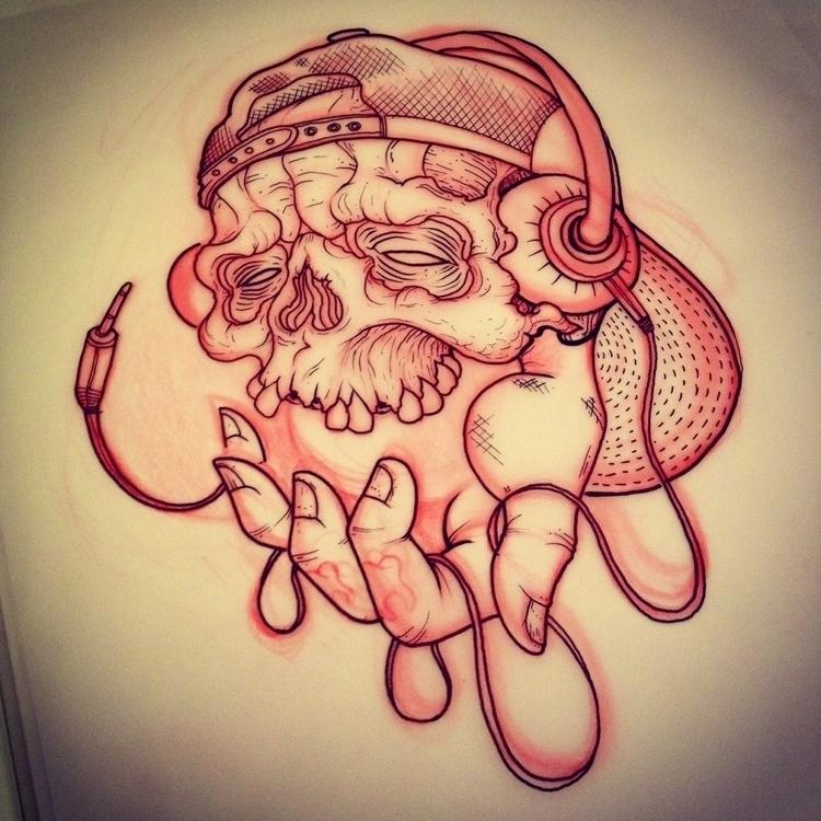 skull, sketch, music, Hat - foskoscarfagna | ello