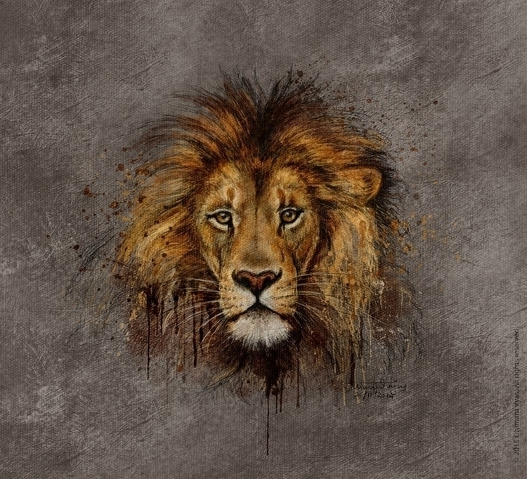 Lion - illustration, painting, drawing - dhimantvyas | ello