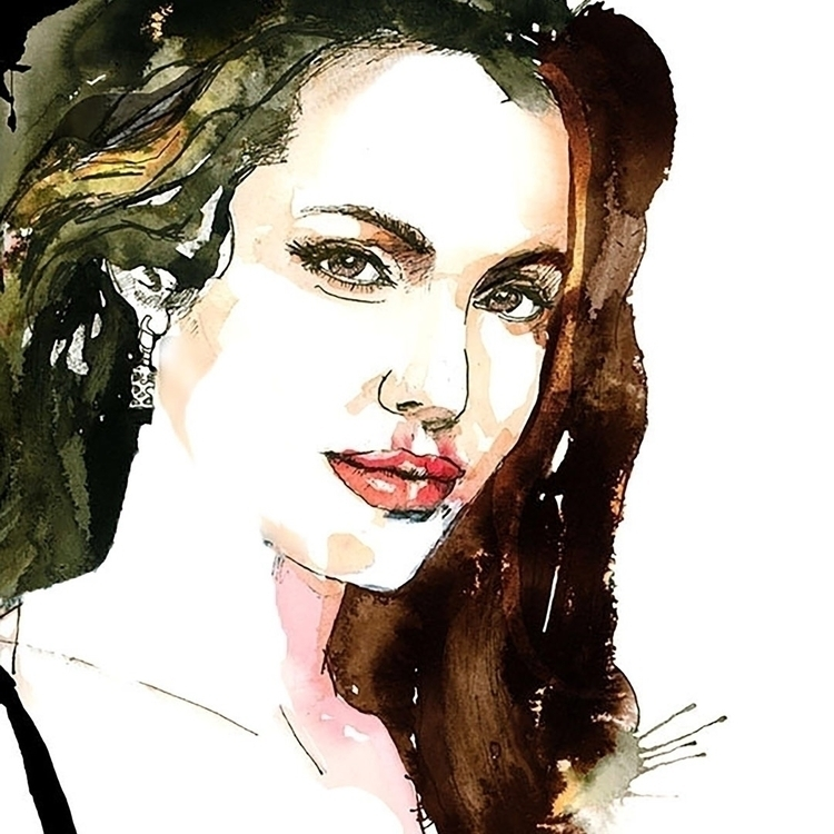 Angelina Joli. Watercolour, ink - ken-1370 | ello