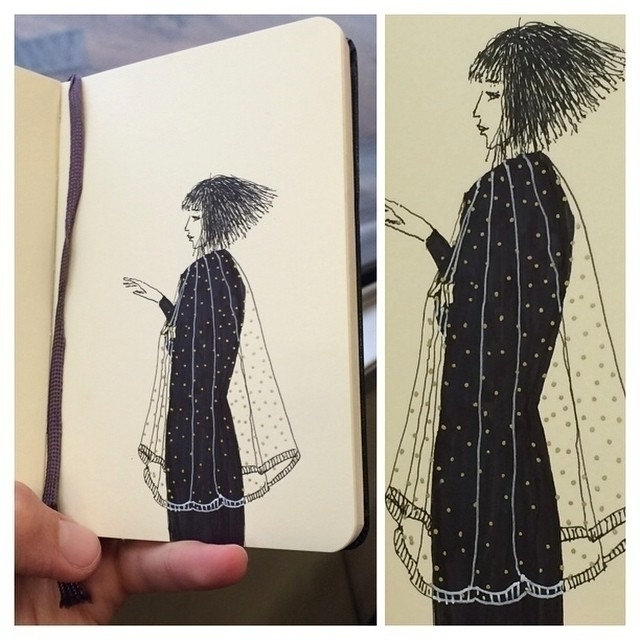 long bob - cape - illustration, drawing - rachelshayne-1154 | ello