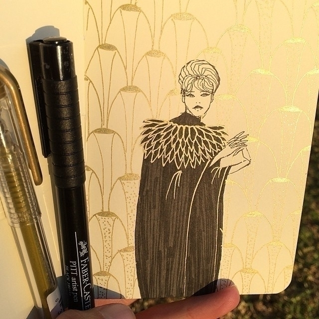 gold pen - lady - art, illustration - rachelshayne-1154 | ello