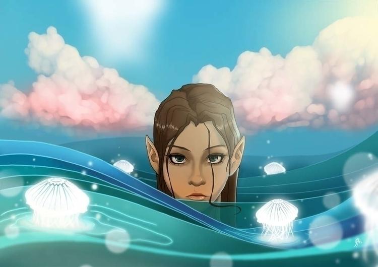water nymphe jellyfish. Digital - audeibanez | ello