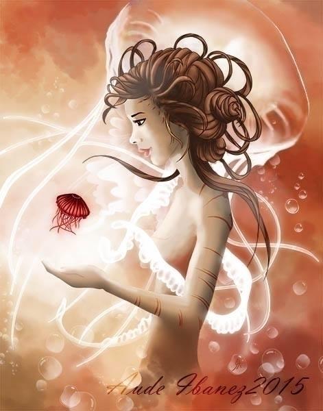 Lady jellyfish, digital paintin - audeibanez | ello