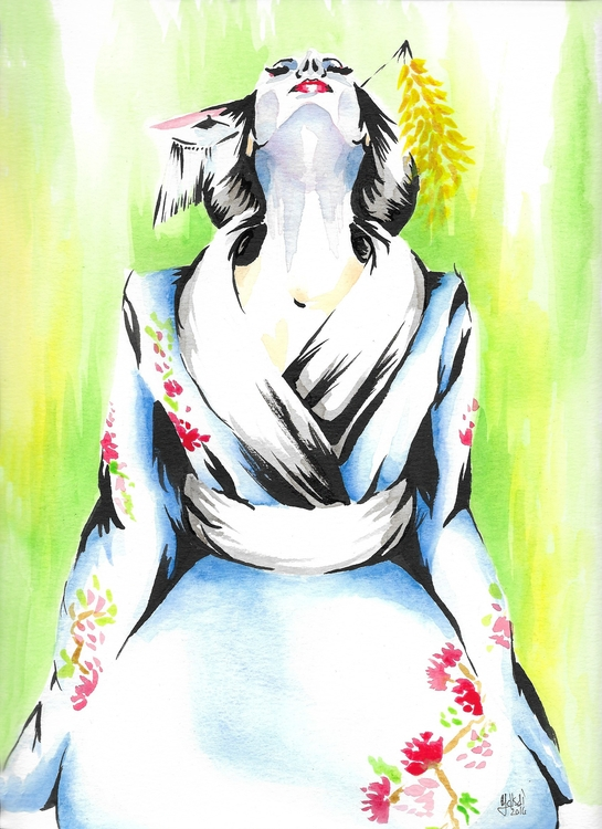 Geisha 5 watercolor 9x12 - geisha - yaksiart | ello