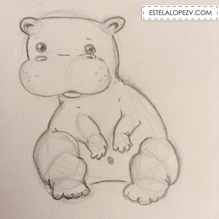 Hippus - handdrawn, hippopotamus - stelalo   ello