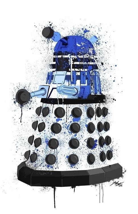 Dalek splatter art blue. Illust - paulhall | ello
