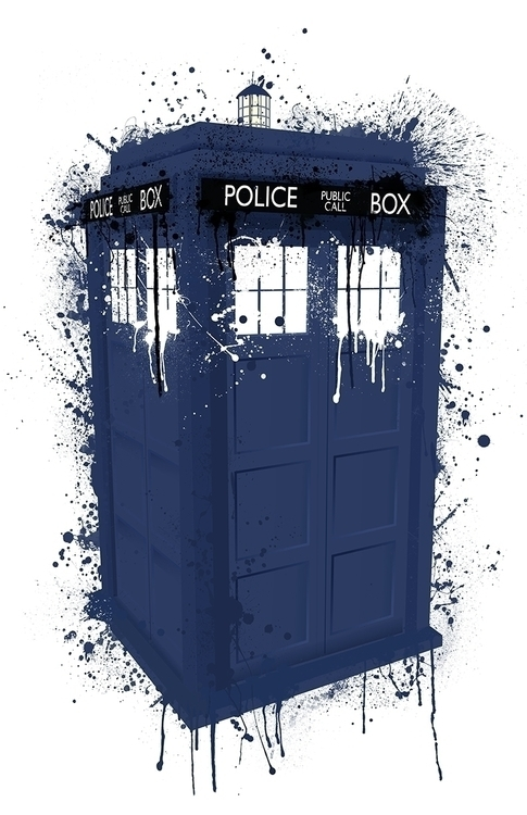 Splatter Tardis artwork Paul Ha - paulhall | ello