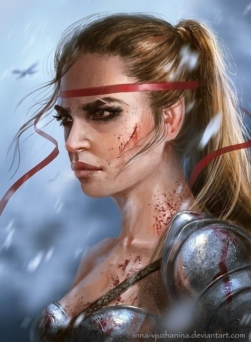 illustration, warrior, female - innavjuzhanina | ello