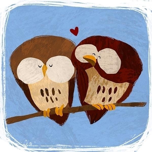 Owl Love - owls, love, cute, illustration - ashleyodell | ello