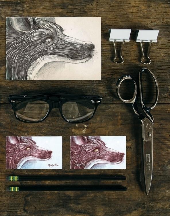 illustration, painting, fox, postcard - helganota | ello