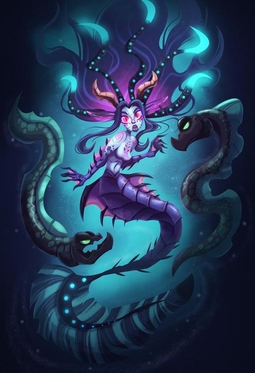 Abyssal Mermaid - creature, creaturedesign - michelverdu   ello