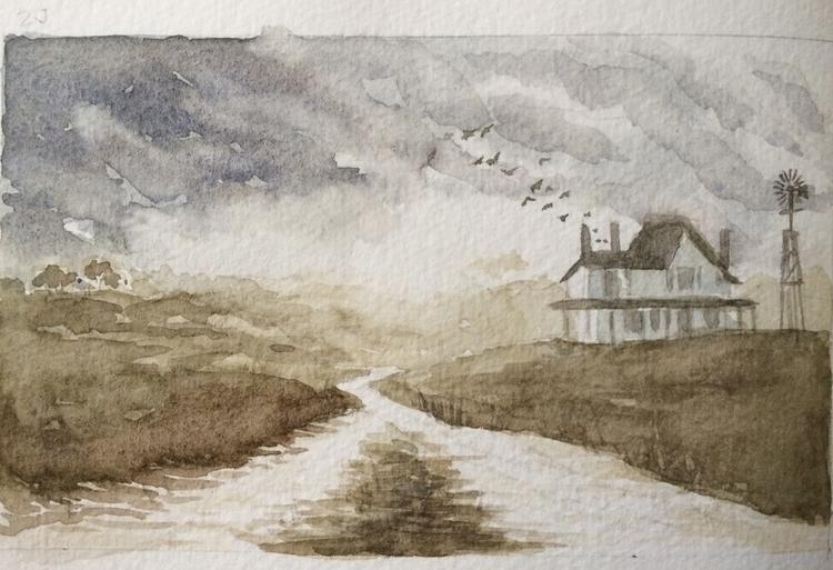 watercolour, painting - cat-8775   ello
