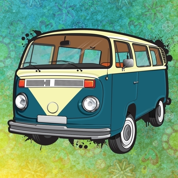 Hippy Van. Late VW Bus - illustration - paperghostdesign | ello