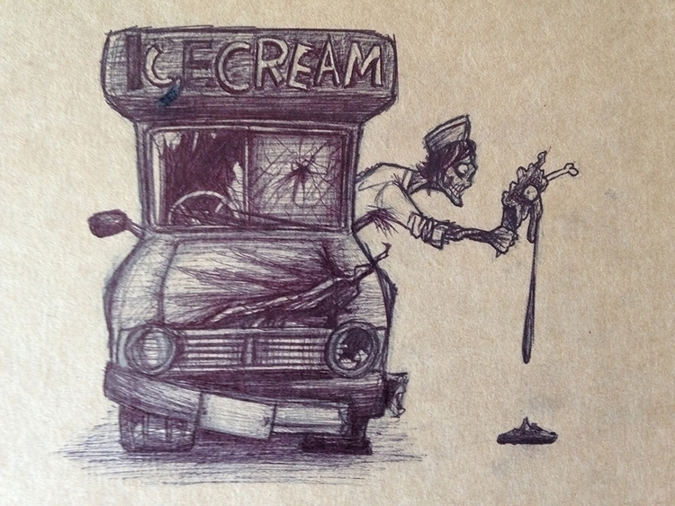 Ice Cream Zombie - original, biro - willcartwright | ello