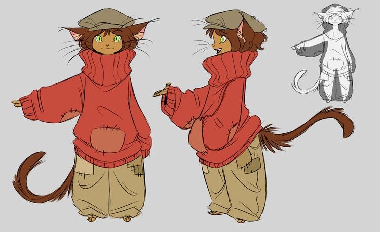 modelsheet, turnaround, cat, catgirl - awamboldt | ello