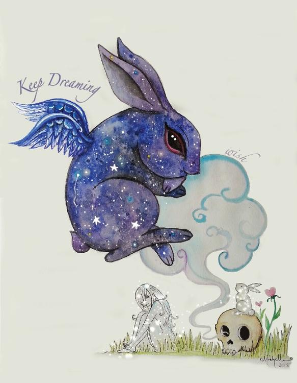 Galactic Bunny Watercolor - illustration - michellecortazar10 | ello