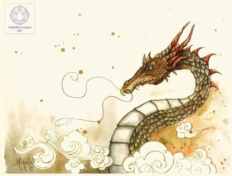 Dragon watercolor - illustration - michellecortazar10 | ello