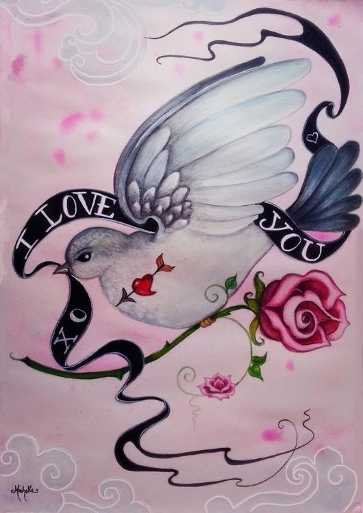 Love watercolor acrylic - illustration - michellecortazar10 | ello