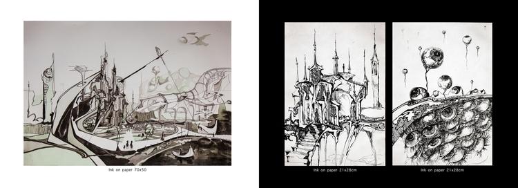 ink, artbook, surreal, graphic - oksin | ello