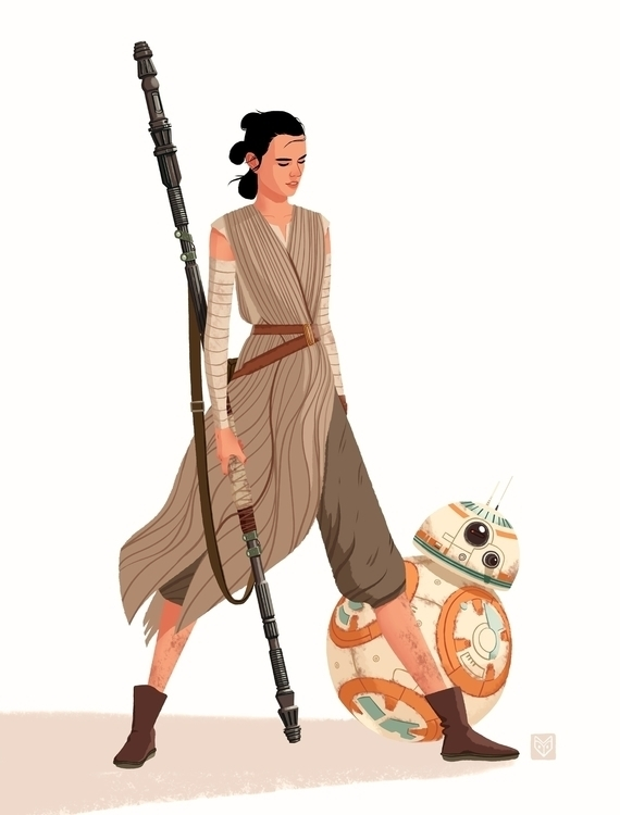 Rey BB8 - illustration, starwars - elinanovak | ello