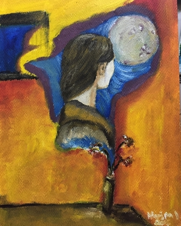 flower brings joy, moon hope - oilpainting - marjpal | ello