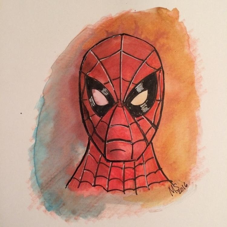 spiderman, watercolor, comics - marksolario   ello