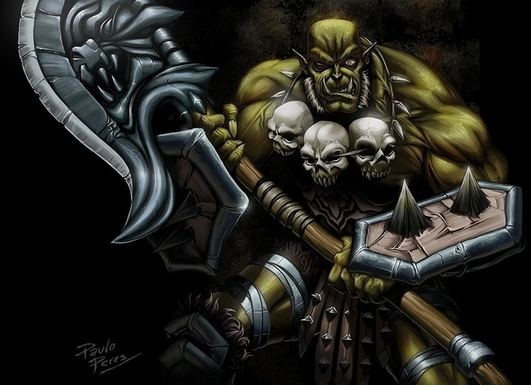 Orc Warrior - illustration, painting - pauloperes-1547   ello
