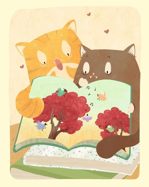 illustration, cat, happy, book - miny-9277 | ello