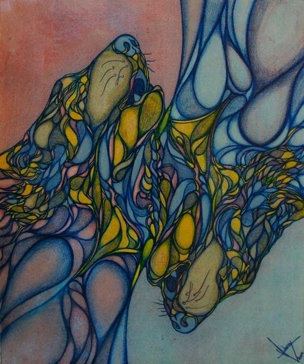 Double Howling monoprint - comb - waubrey | ello