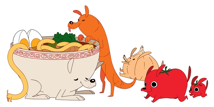Udon Vegetable Dogs - udon, vegetables - kaseythegolden | ello