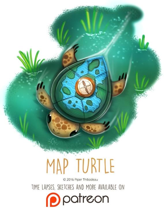 Day 1416. Map Turtle - piperthibodeau | ello