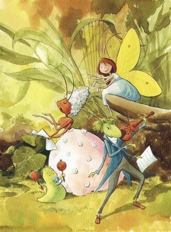 Singer. Gouache watercolor cont - joannapasek | ello