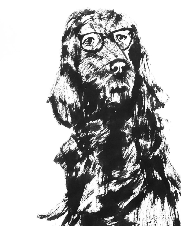Dog glasses - illustration, drawing - sijie_ng | ello