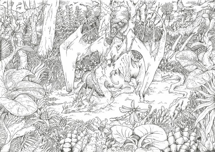 Florest dragon - illustration, drawing - feradami | ello