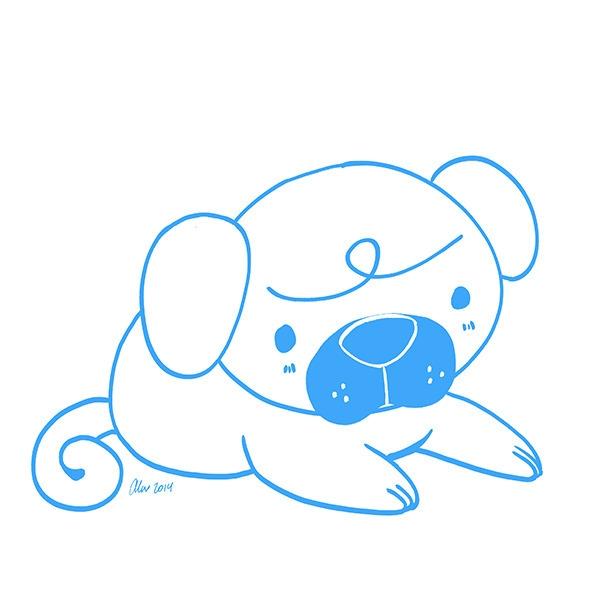Lil Pug - pug, puppy, dog, doodle - alexandrasketch | ello