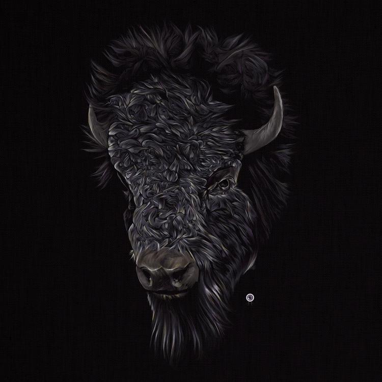 Bison --Digital Illustration - illustration - adamdunt | ello