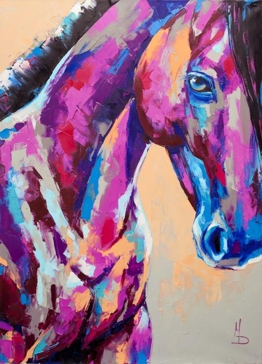 horse head. Oil canvas, palette - maridein | ello